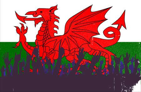 welsh flag: Pubblico reazione felice con i gallesi sfondo bandiera