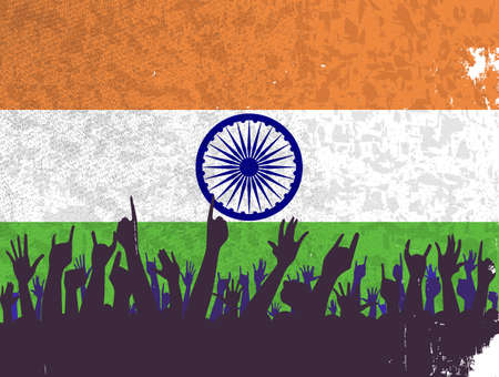 reaction: Audience happy reaction with the India flag background Stock Photo