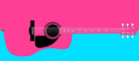 Una guitarra acústica típica aislada sobre un fondo de color rosa y blanco.