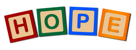 block letters: A collection of wooden block letters spelling the word HOPE