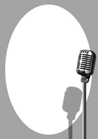 spotlit: A microphone ready on stage against a white background Illustration