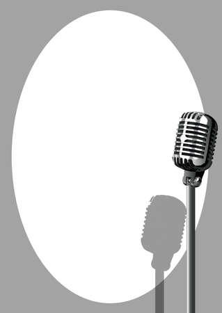 Un micrófono dispuesto en el escenario sobre un fondo blanco