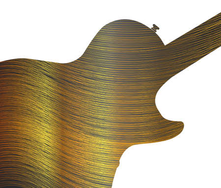 gibson: Fine gold thread below an electric guitar silhouette all over a black background