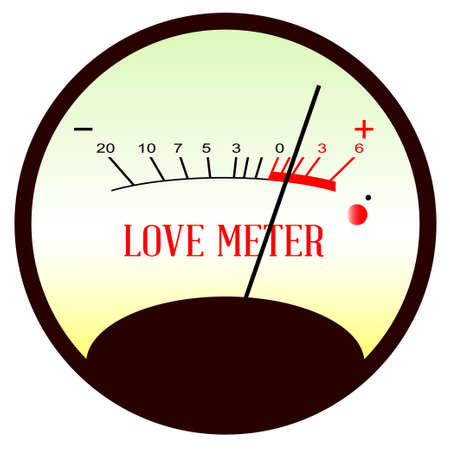 analogue: A typical analogue meter showing the level of love Illustration
