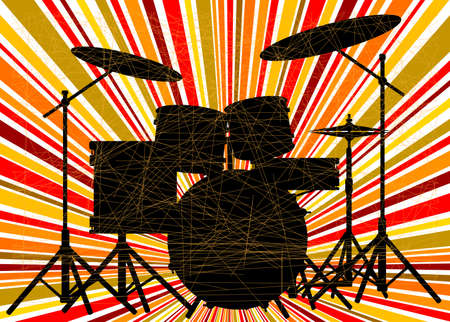 jive: Silhouette of a rock bands drum kit over a ray splash grunge background Illustration