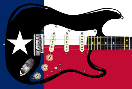 superimposed: Texas flag background pattern with a guitar superimposed