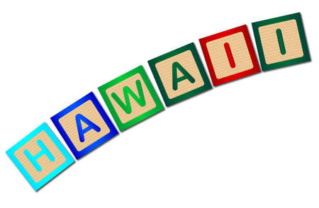 block letters: A collection of wooden block letters spelling Hawaii over a white background