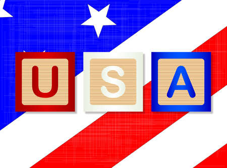 block letters: A collection of wooden block letters spelling USA over a Stars and Stripes background