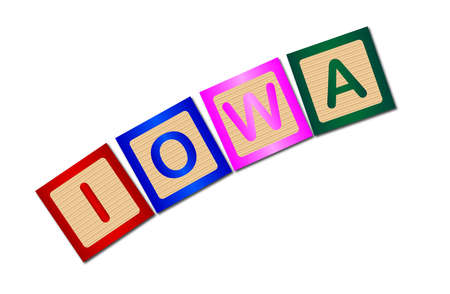 block letters: A collection of wooden block letters spelling Iowa over a white background