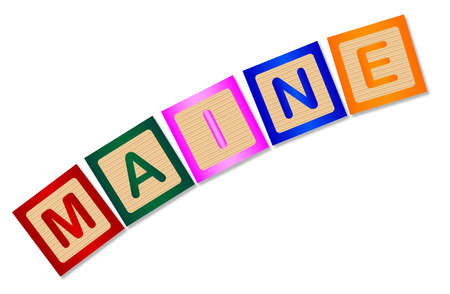 block letters: A collection of wooden block letters spelling Maine over a white background Illustration