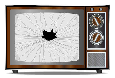 broken screen: An old wood surround television receiver with a broken screen over a white background