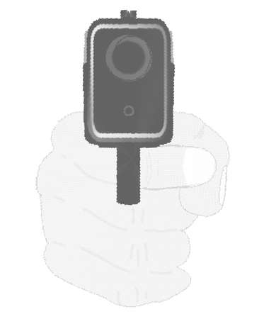 watcher: A hand gun pointing towards the watcher
