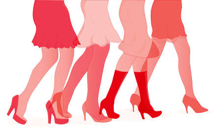 heals: A collection of female legs walkig towards the sale in red duotone