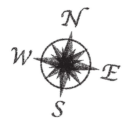 fx: A compass dial in black and white with stipple FX Illustration