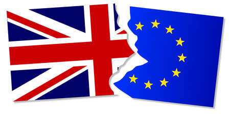 common market: Flag of the European Union and Great Britain torn apart Illustration