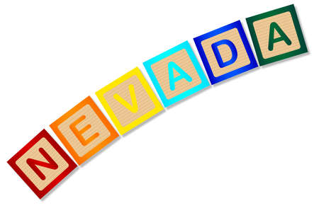 block letters: A collection of wooden block letters spelling Nevada over a white background Illustration