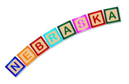 block letters: A collection of wooden block letters spelling Nebraska over a white background Illustration