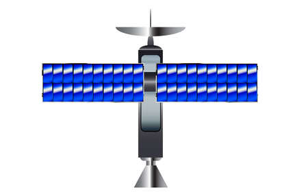 satellite transmitter: A typical satellite with solar panel wings over a white background