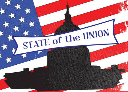congresses: Washingto icon with starts and stripes background with the legend State of the Union