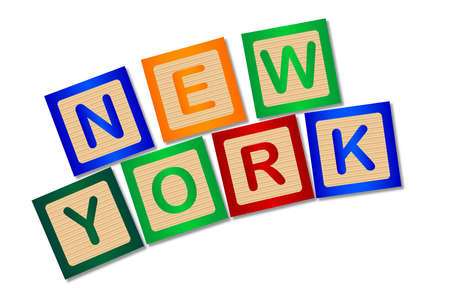 block letters: A collection of wooden block letters spelling New York over a white background