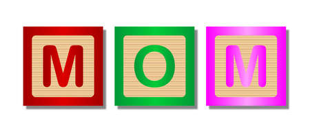 block letters: A collection of wooden block letters spelling the word MOM