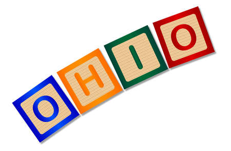 block letters: A collection of wooden block letters spelling Ohio over a white background Illustration