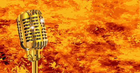 spotlit: A microphone with a flame background