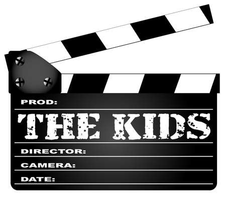 legend: A typical movie clapperboard with the legend THE KIDS isolated on white. Illustration