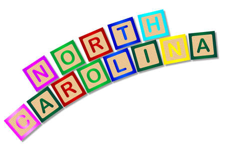 block letters: A collection of wooden block letters spelling North Carolina over a white background