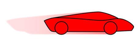 A cartoon of a very fast red sports car Illusztráció
