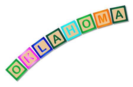 block letters: A collection of wooden block letters spelling Oklahoma over a white background