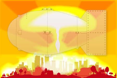 nagasaki: A hydrogen bomb blast with overlay of Fat Man hydrogen bomb