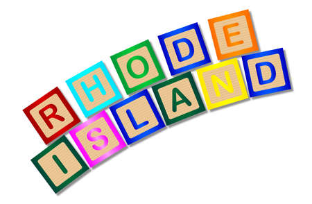 block letters: A collection of wooden block letters spelling Rhode Island over a white background Illustration