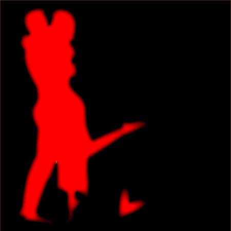 innamorati che si baciano: Lovers in sfocatura rosso impostata su uno sfondo nero con il cuore