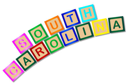 block letters: A collection of wooden block letters spelling South Carolina over a white background Illustration