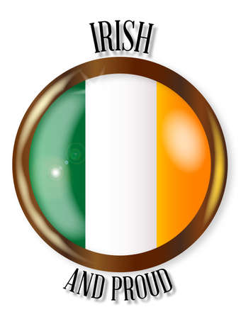 irish pride: Irish and Proud flag button with a circular border over a white background