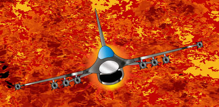 zooming: A jet fighter zooming away from the explosion and flames