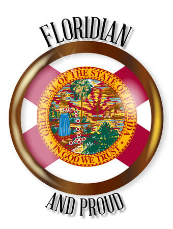 floridian: Florida state flag button with a gold metal circular border over a white background with the text Floridian and Proud