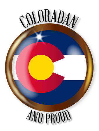 colorado flag: Colorado state flag button with a gold metal circular border over a white background with the text Coloradan and Proud