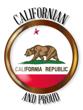californian: California state flag button with a gold metal circular border over a white background with the text Californian and Proud