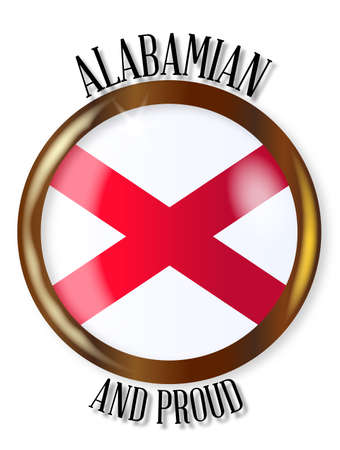 alabama state: Alabama state flag button with a gold metal circular border over a white background with the text Alabamian and Proud