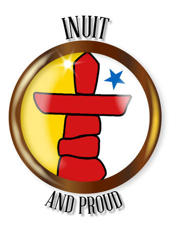 inuit: Inuit flag button with a metal circular border over a white background with the text Inuit and Proud