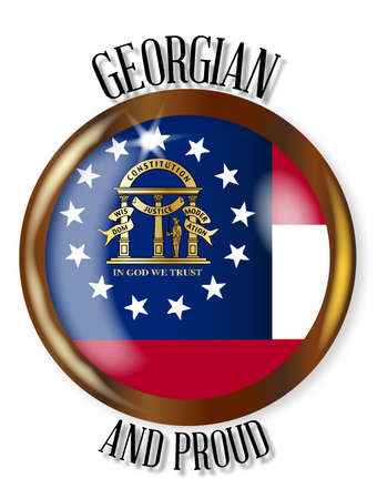 georgian: Georgia state flag button with a circular border over a white background with the text Georgian and Proud