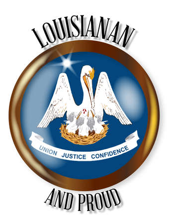 Louisiana state flag button with a circular border over a white background with the text Louisianan and Proud Illustration