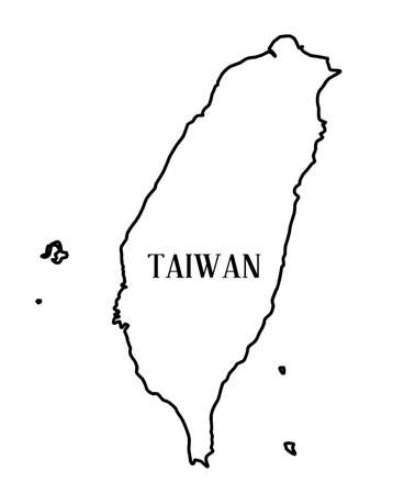 mapa china: Esquema del mapa de la Rebublic china de Taiwán sobre un fondo blanco