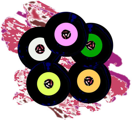 A collection of 45 rpm records with blank labels over a jazz style background. Illustration