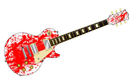 The definitive rock and roll guitar with red splatter isolated over a white background.