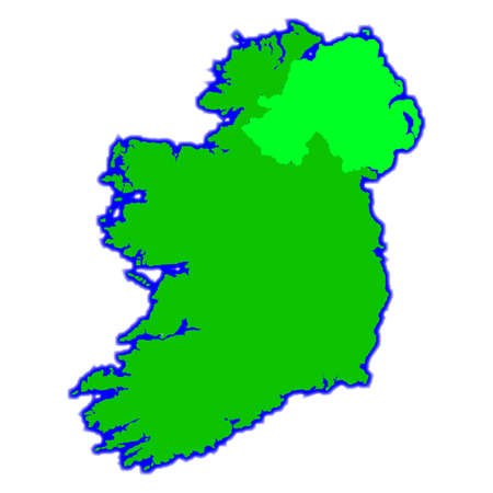 eire: Both North and South Irelend over a white background