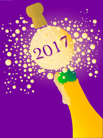 exclaiming: Champagne bottle being opened with froth and bubbles with a large bubble exclaiming 2017