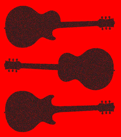 headstock: Traditional guitar shape silhouettes in doted over a red background